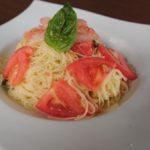イカと辛子明太子とトマトの冷製カッペリーニ