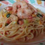 エビと彩り野菜のトマトクリームスパゲッティ