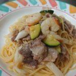シーポークとエビと季節野菜のオリーブオイルソーススパゲッティバルサミコ風味